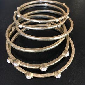 Chico's Gold Tone & Pearl Set/6 Bangle Bracelets